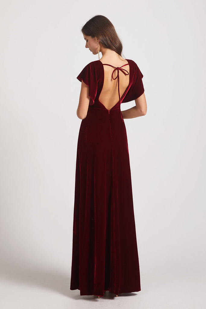 Velvet  Bridesmaid Dresses Back