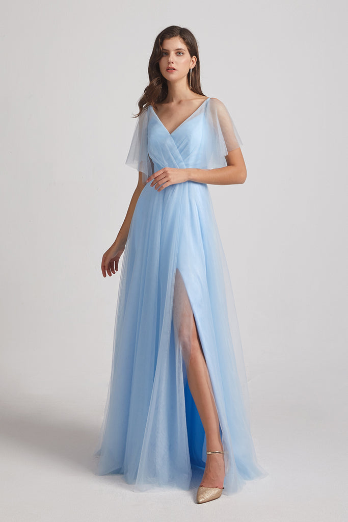 blue split long maids of honor dresses