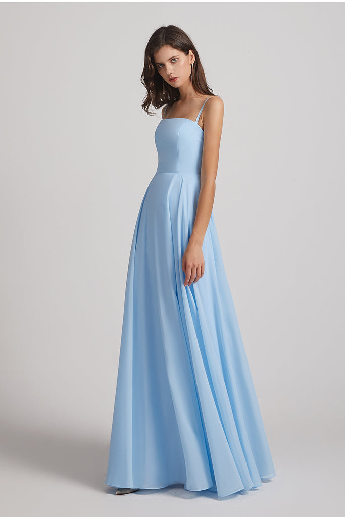 ruffles chiffon maid of honor dress
