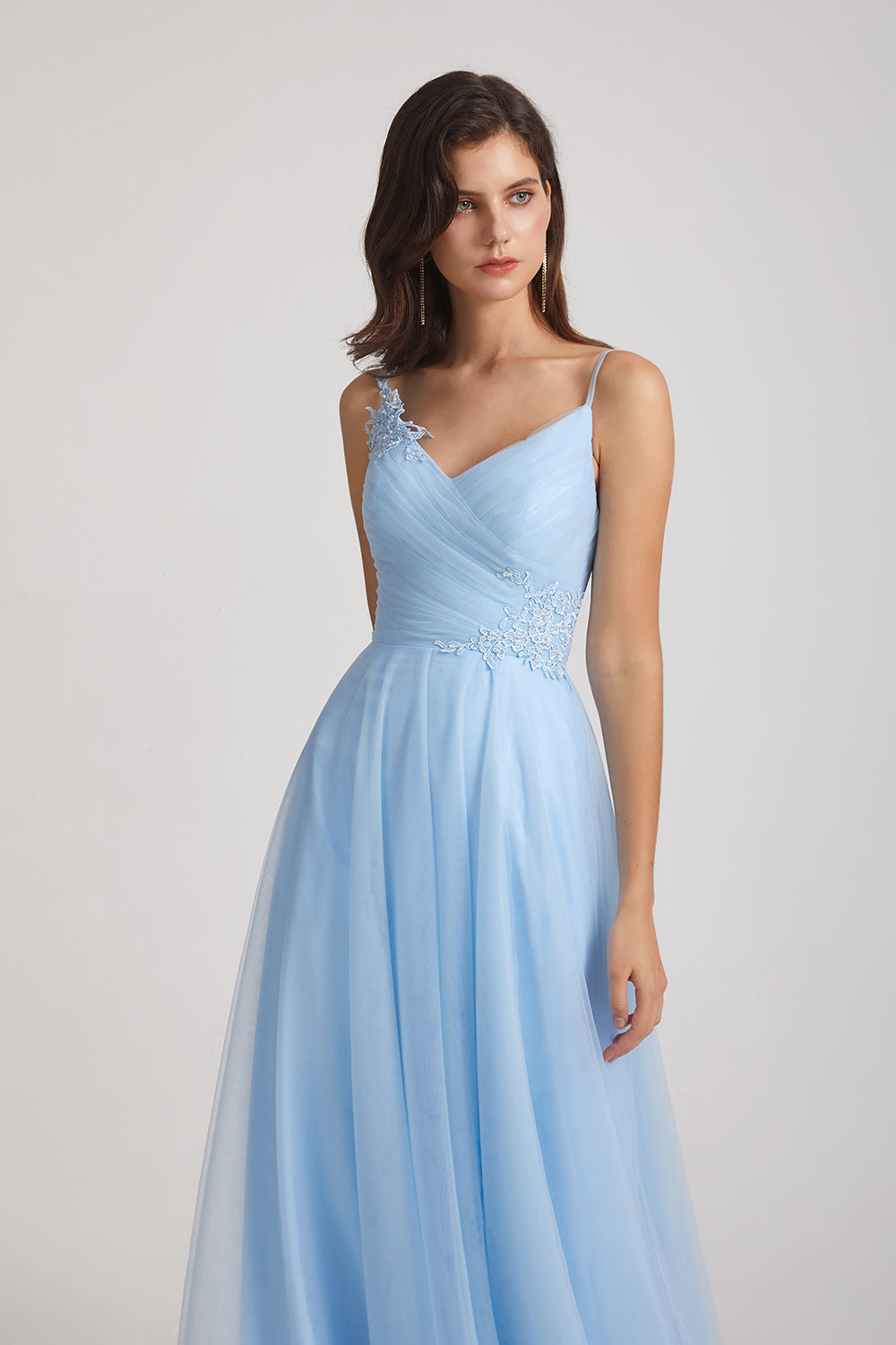 light blue Tulle Bridesmaid Dresses