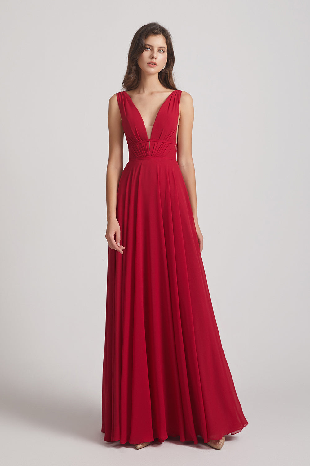 deep v-neck bridesmaids dresses
