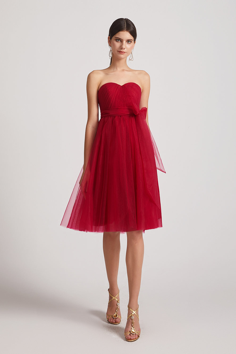 red pleated short bridesmaids dresses