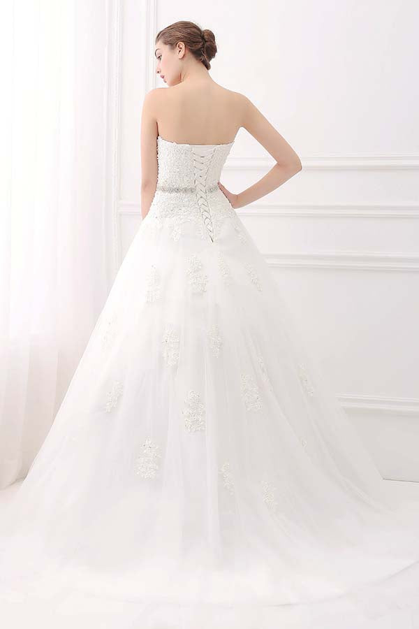 lace up crystal belt wedding dress