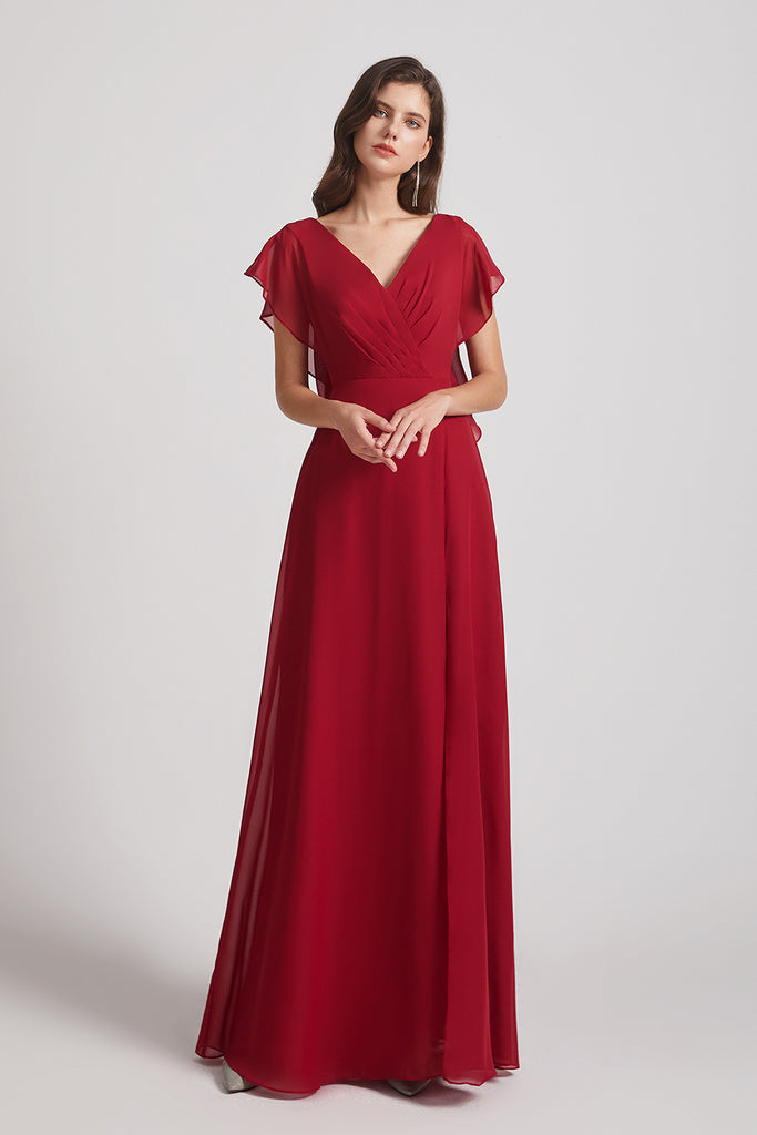 red chiffon bridesmaid gown
