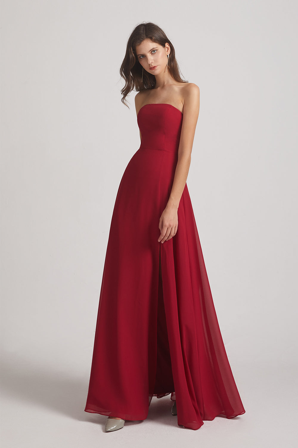 red chiffon slit long maids of honor dress