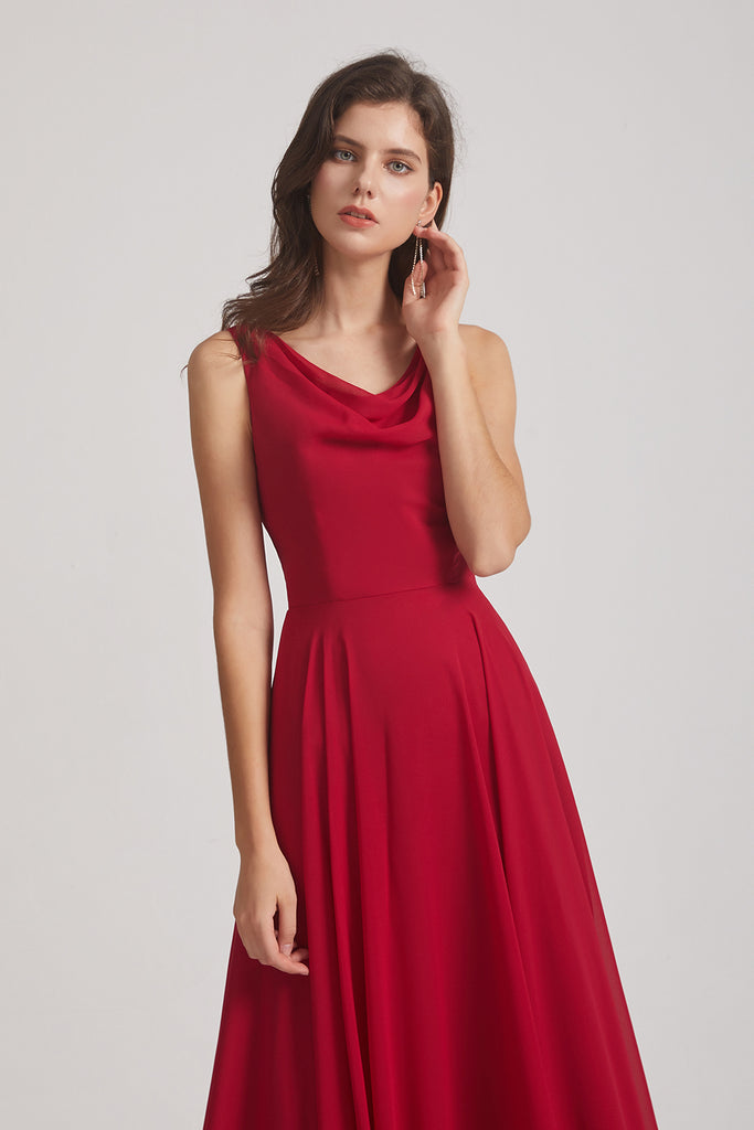 red cowl chiffon maxi  dresses