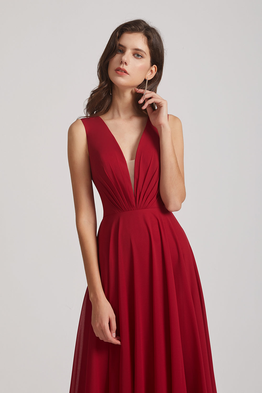 red  v-neck bridesmsmaid gown