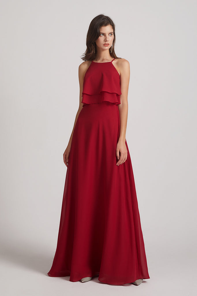 red flonuced sleeveless maid of honor dresses