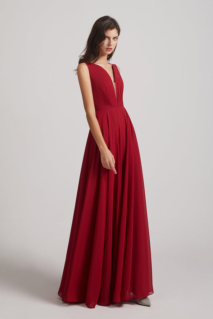Double V-neck Ruched Chiffon Long Red Bridesmaid Dresses