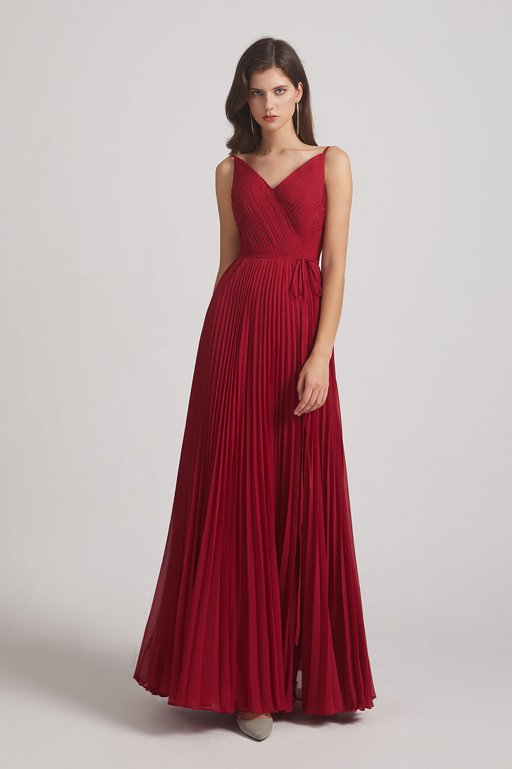 red ruched a-line maid of honor dress