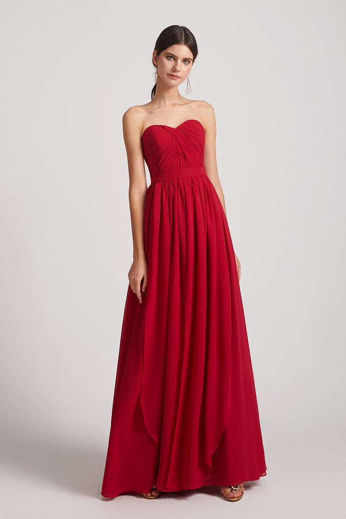 sweetheart a-line long chiffon bridesmaids dress