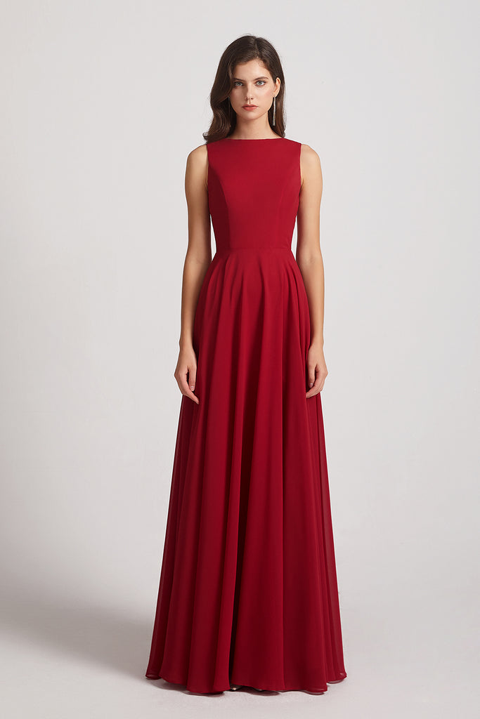 round red chiffon maids of honor dress