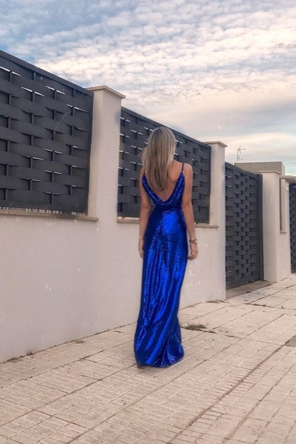 Draped Back Sequin Evening Dresses