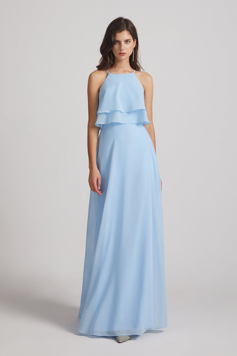 pleated chiffon bridesmaid gown