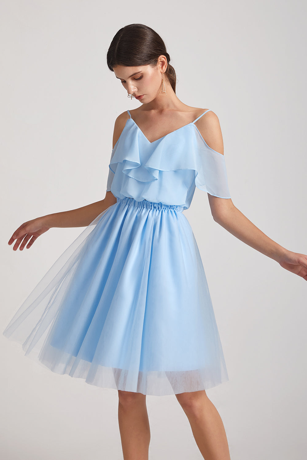 two pieces a-line blue chiffon bridesmaid dresses