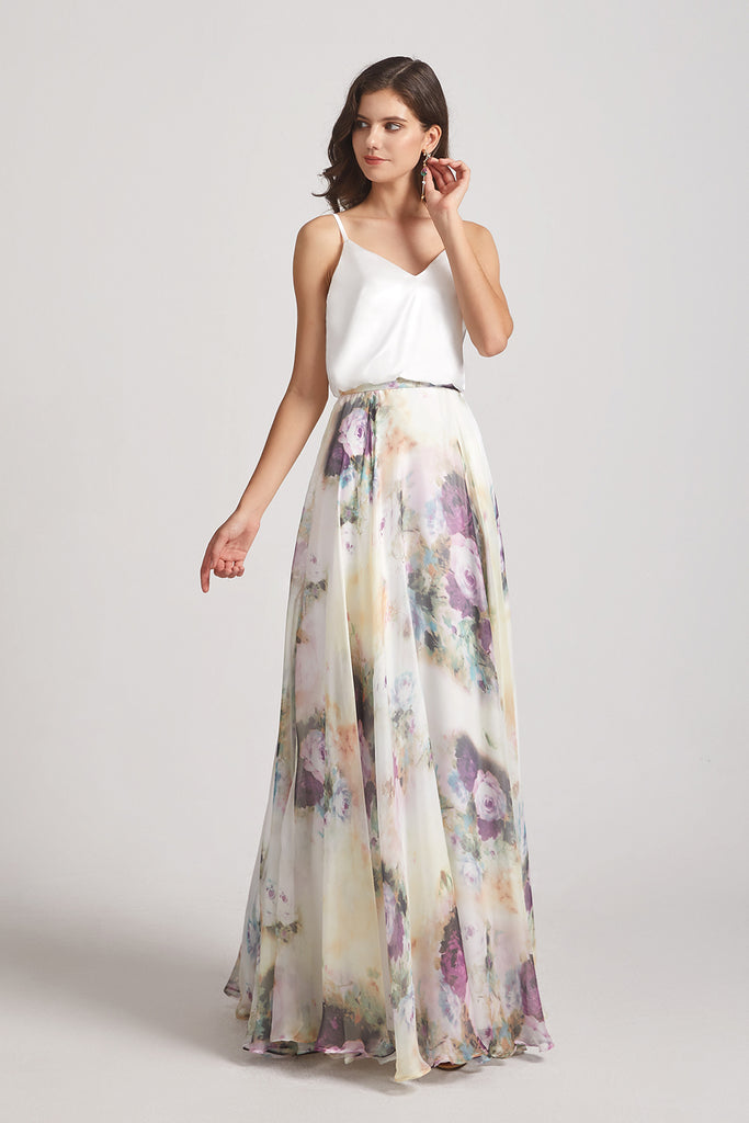 chiffon top floral skirt long bridesmaid dresses