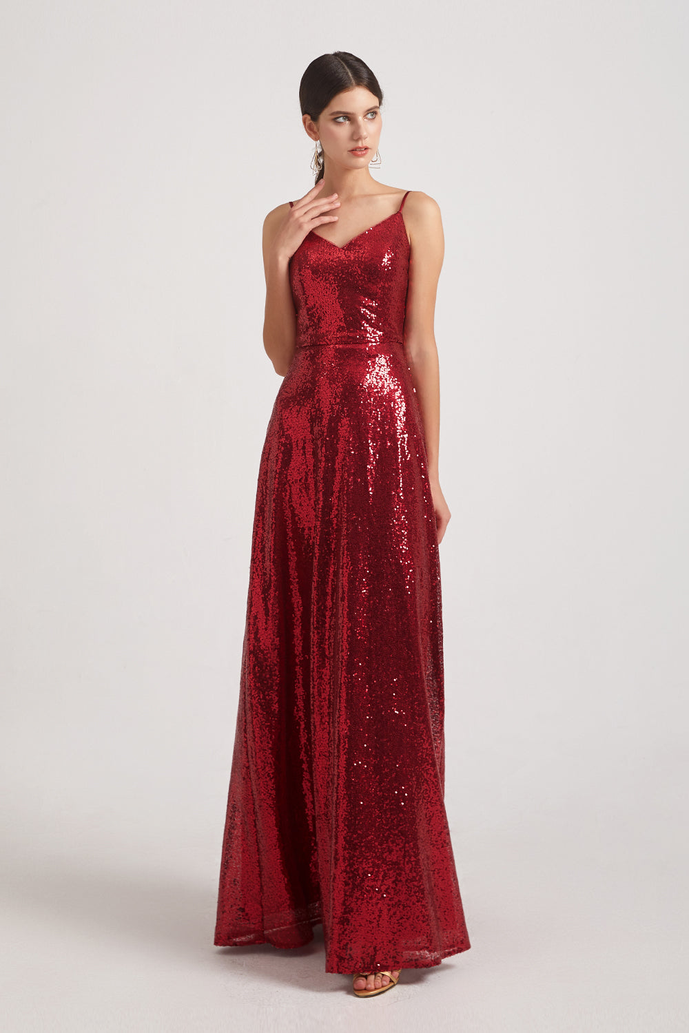 Wine Sequin Bridesmaid Gowns