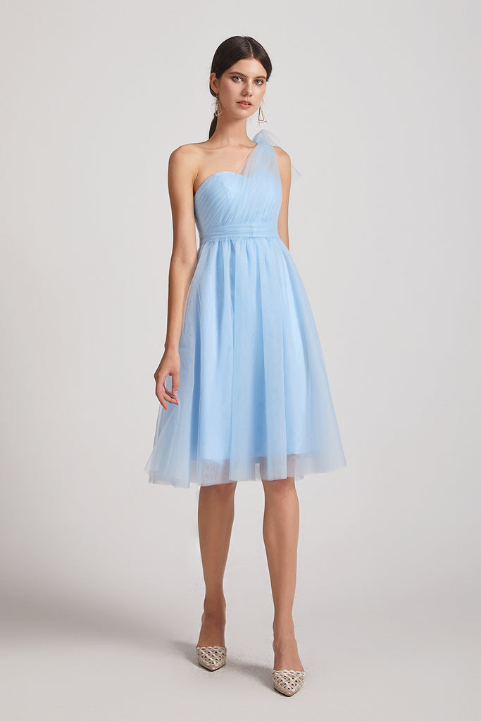 convertible blue knee length  bridesmaid dress