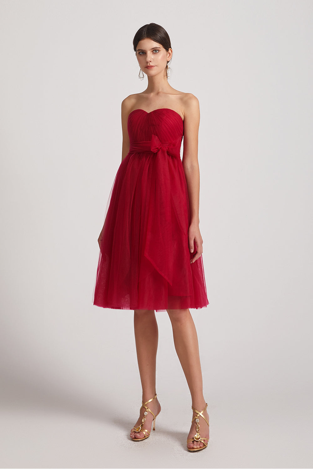 ruffles a-line convertible maid of honor dress