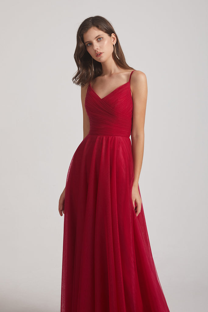 spaghetti straps pleated prom dresses