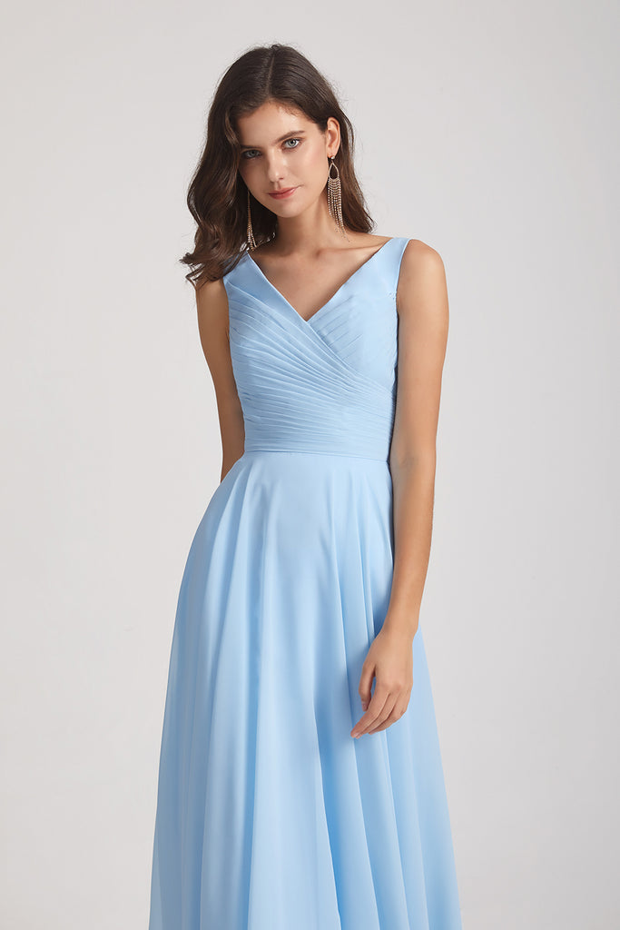 v-neck maid of honor dress
