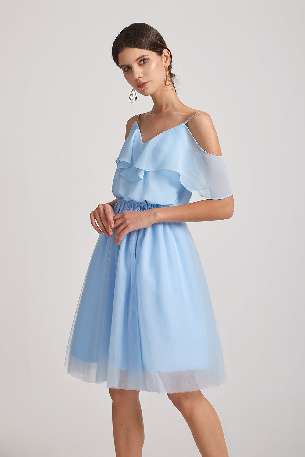 two pieces a-line chiffon maid of honor dresses