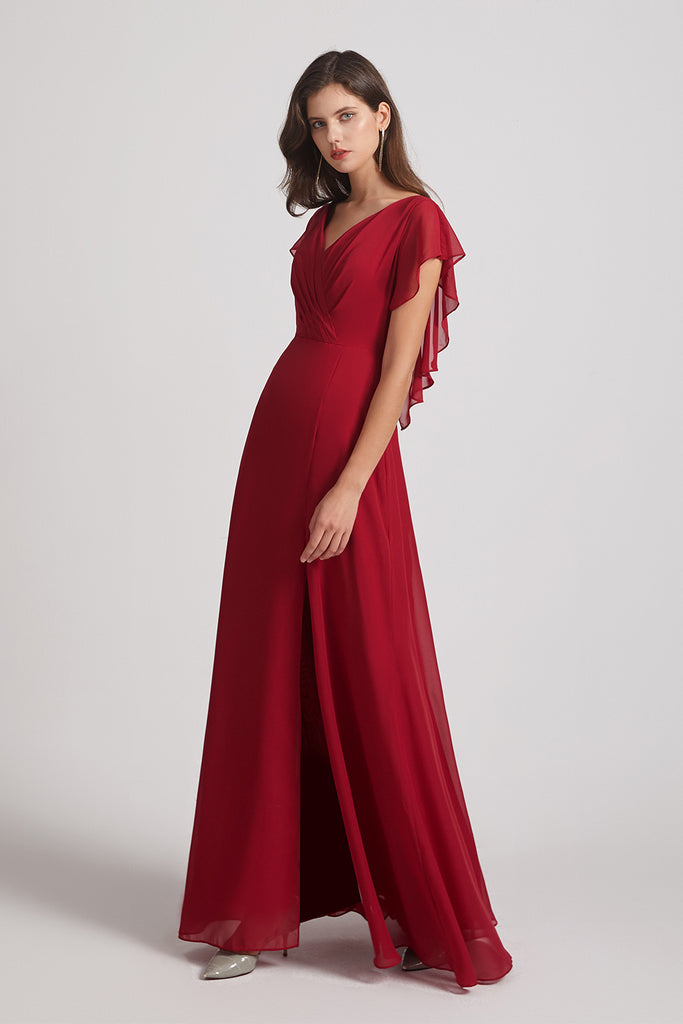 side slit chiffon bridesmaid dresses