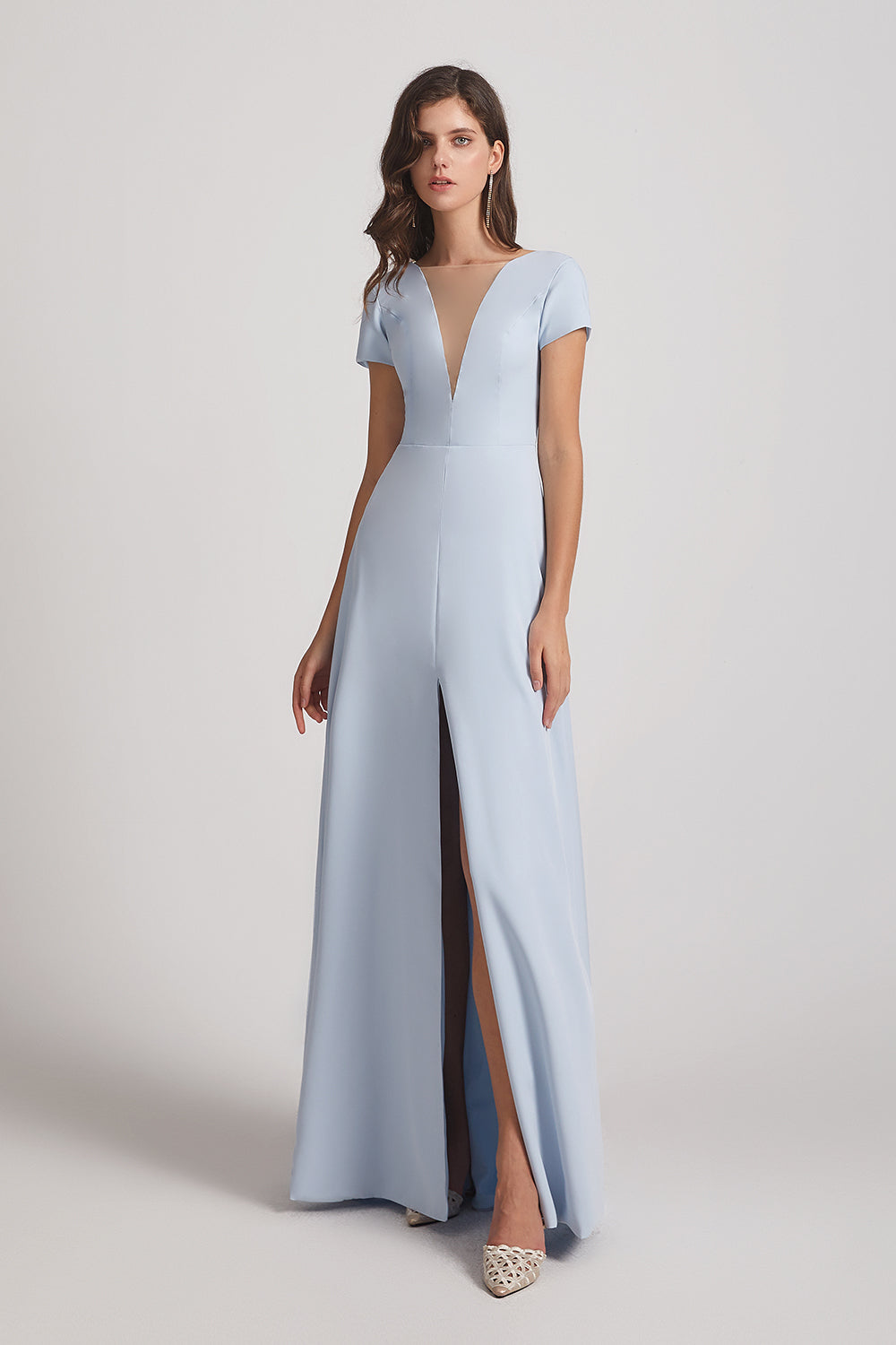 long split-front bridesmaid gown