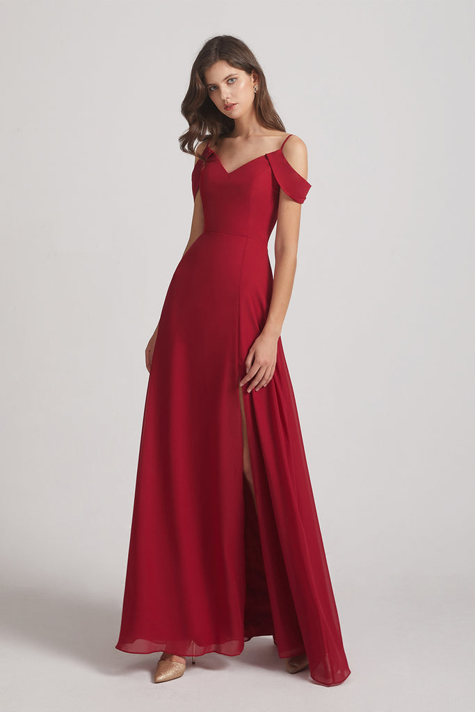 side slit floor length bridesmaid gowns