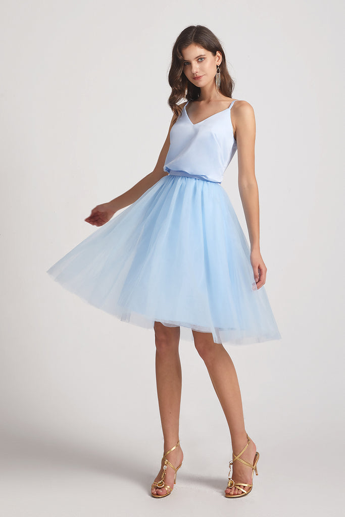 silky light blue short bridesmaid gowns