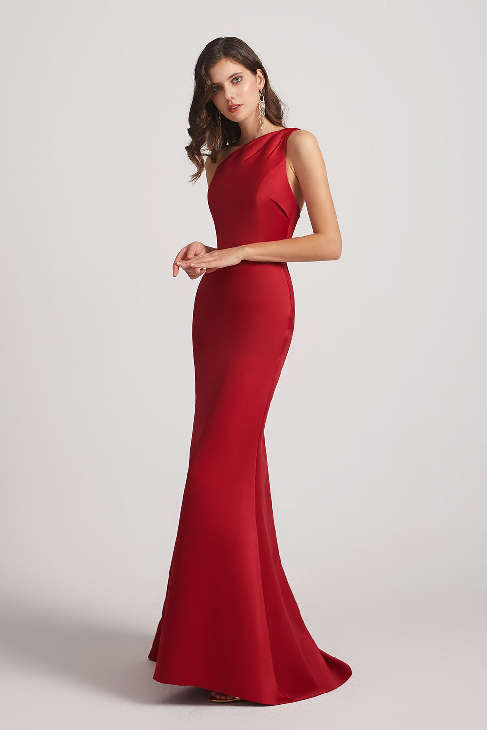red sheath satin maxi bridesmaid gowns