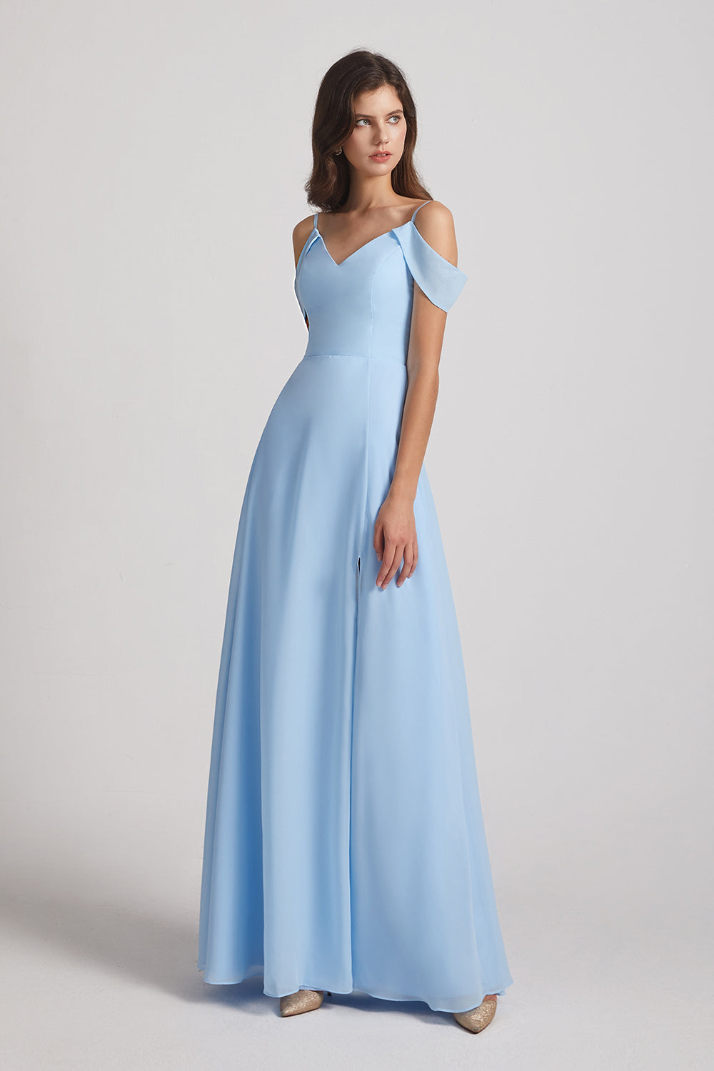 casual chiffon bridesmaid gown