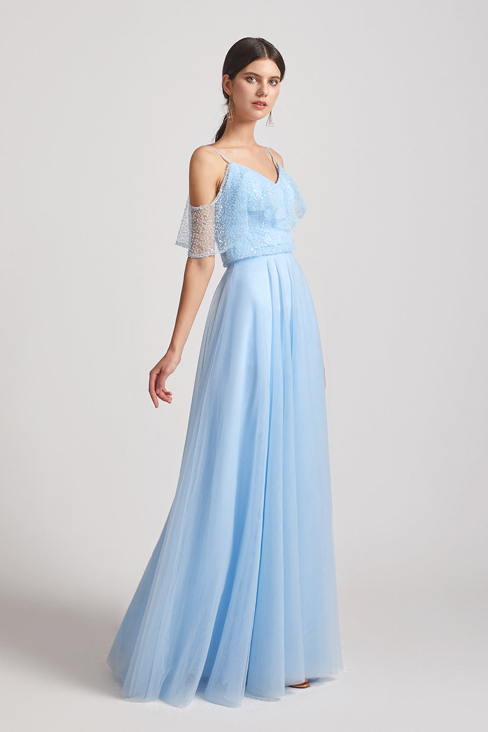a-line blue sequin bridesmaid gown