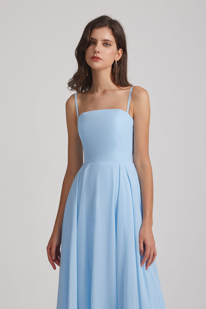 light blue chiffon bridesmaid  dresses