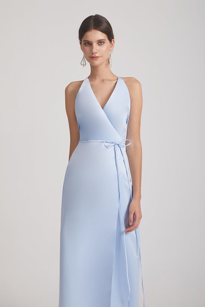 tie-waist light blue bridesmaids dresses