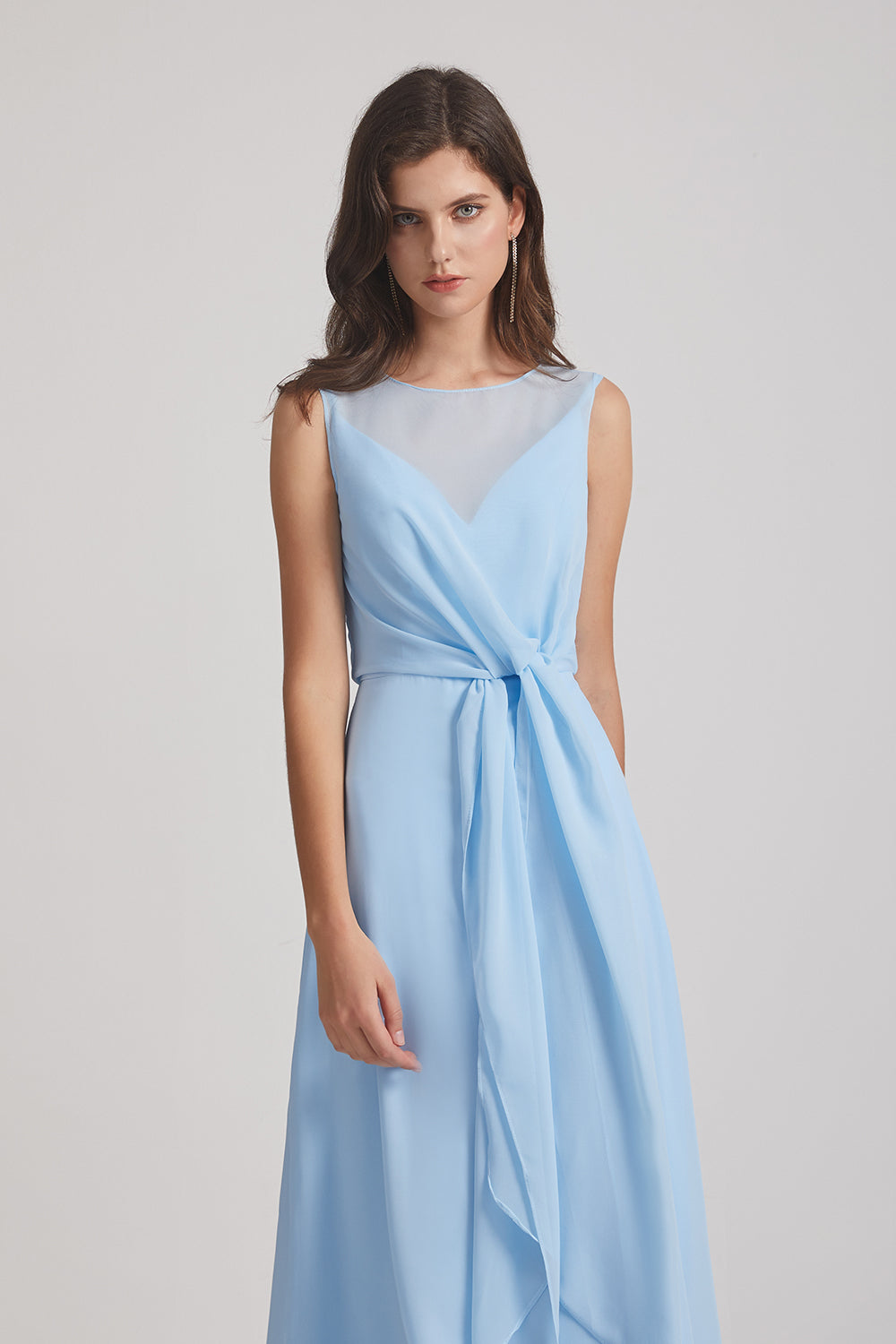 light blue sleeveless bridesmaids gown