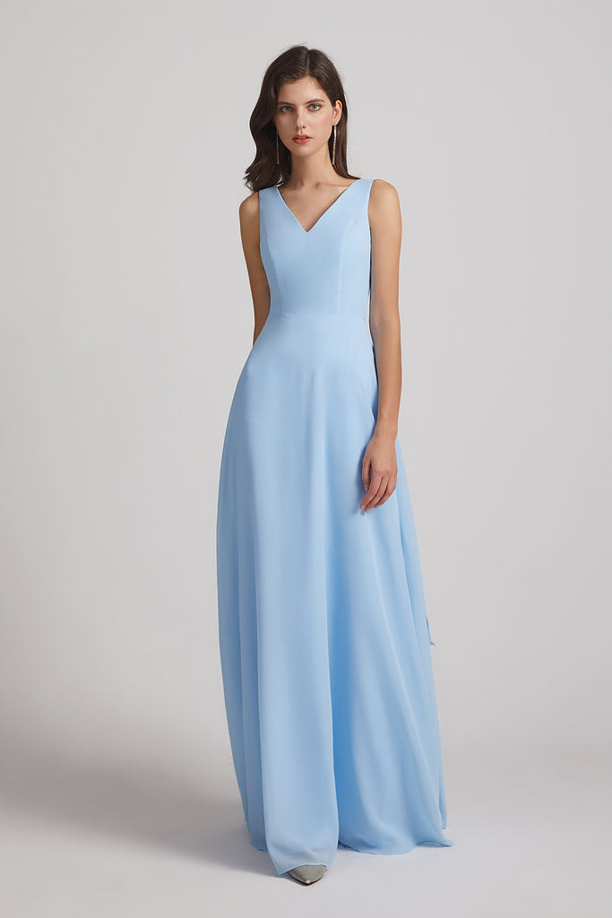 light blue sleeveless chiffon maid of honor dresses