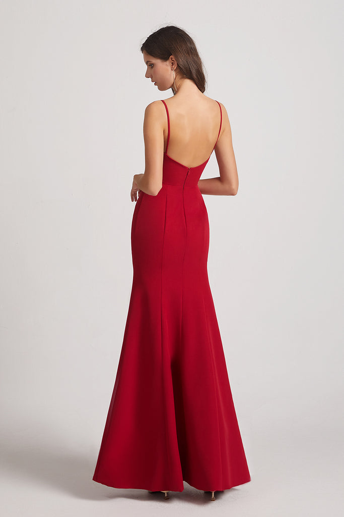 spaghetti straps backless maids of honor dresses