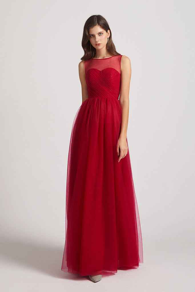 pleated dark red gown