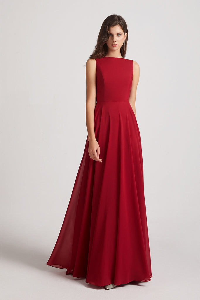 sleeveless chiffon maxi maid of honor dress