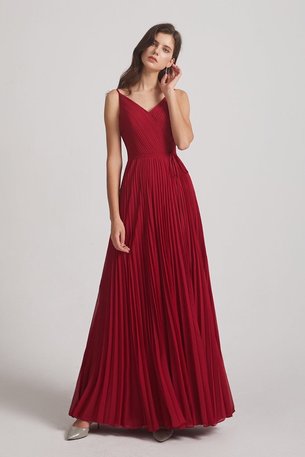sleeveless long pleated bridesmaids gowns