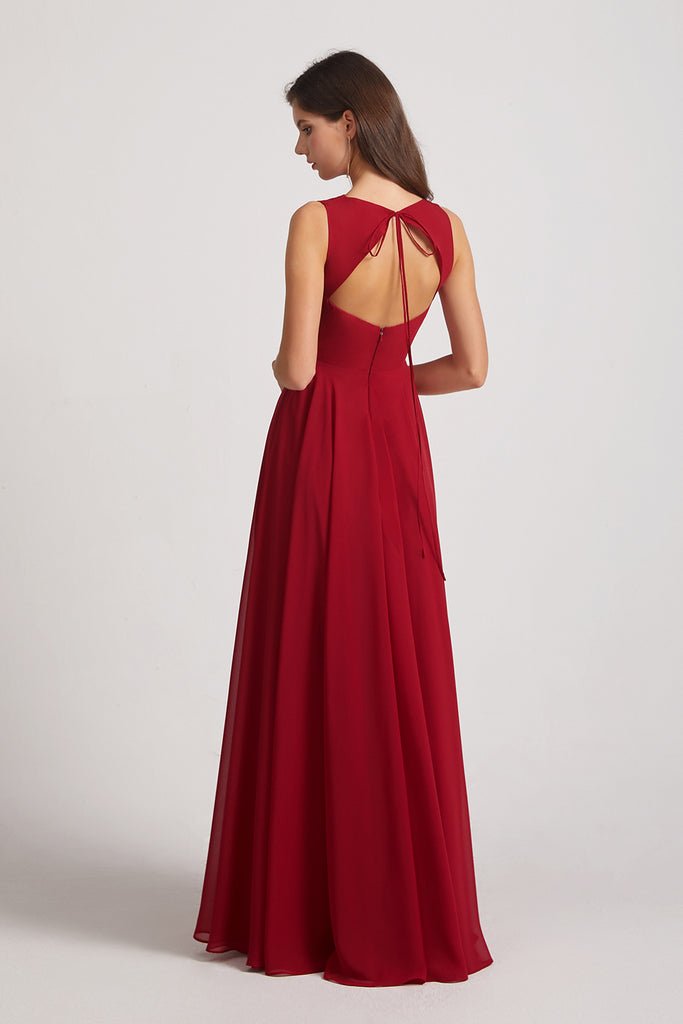 sleeveless backless chiffon bridesmaid dresses