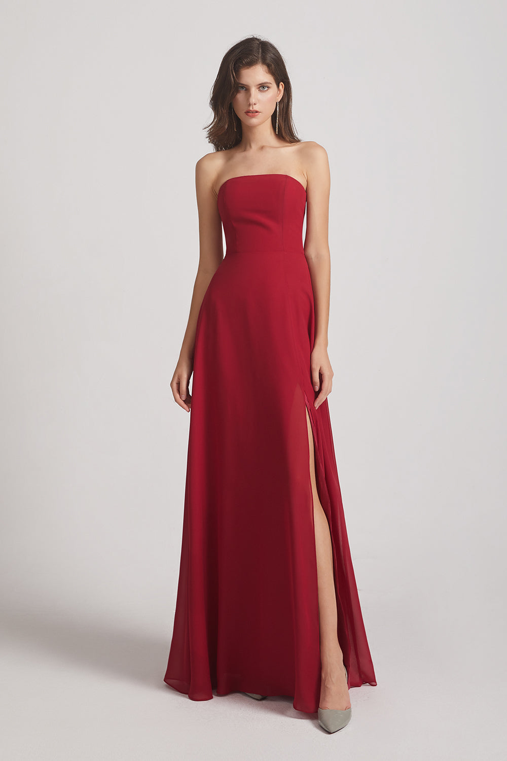 sleeveless red chiffon ruched maid of honor dress