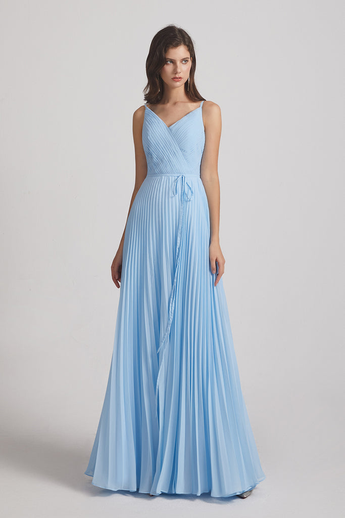 sleeveless ruched floor length blue bridesmaid dress