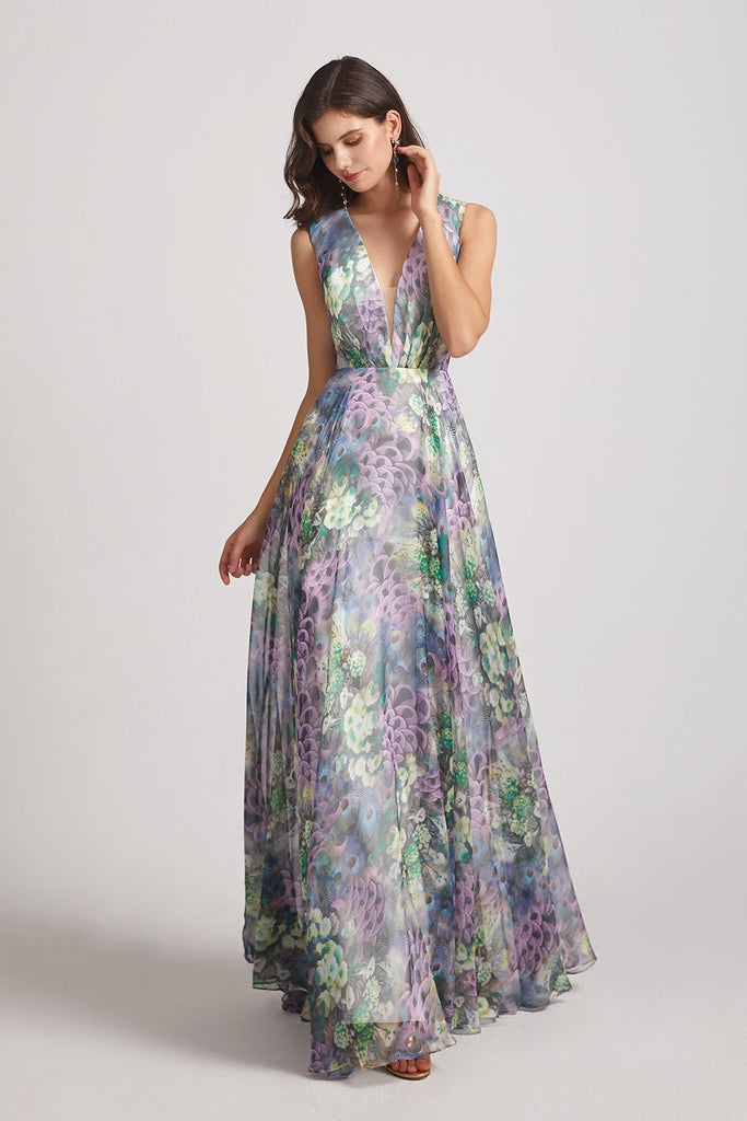 sleeveless v-neck a-line Floral & Printed Bridesmaid Gowns