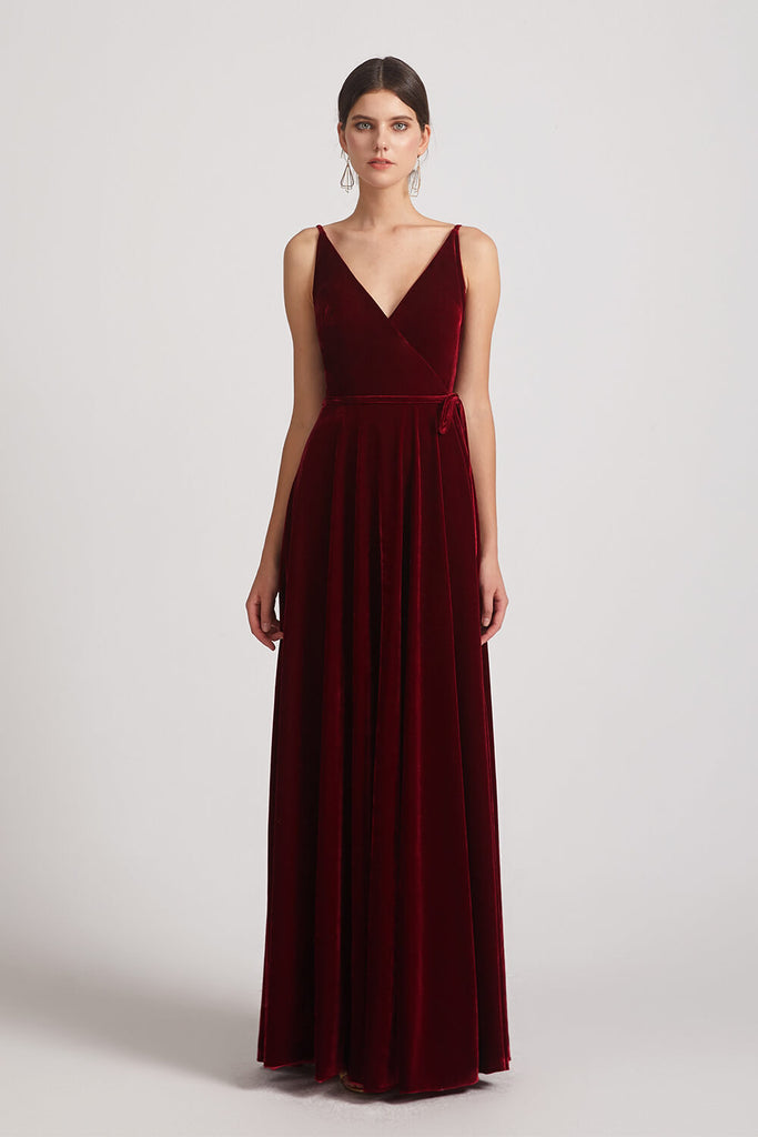 Waist Tie Velvet Bridesmaid Dresses