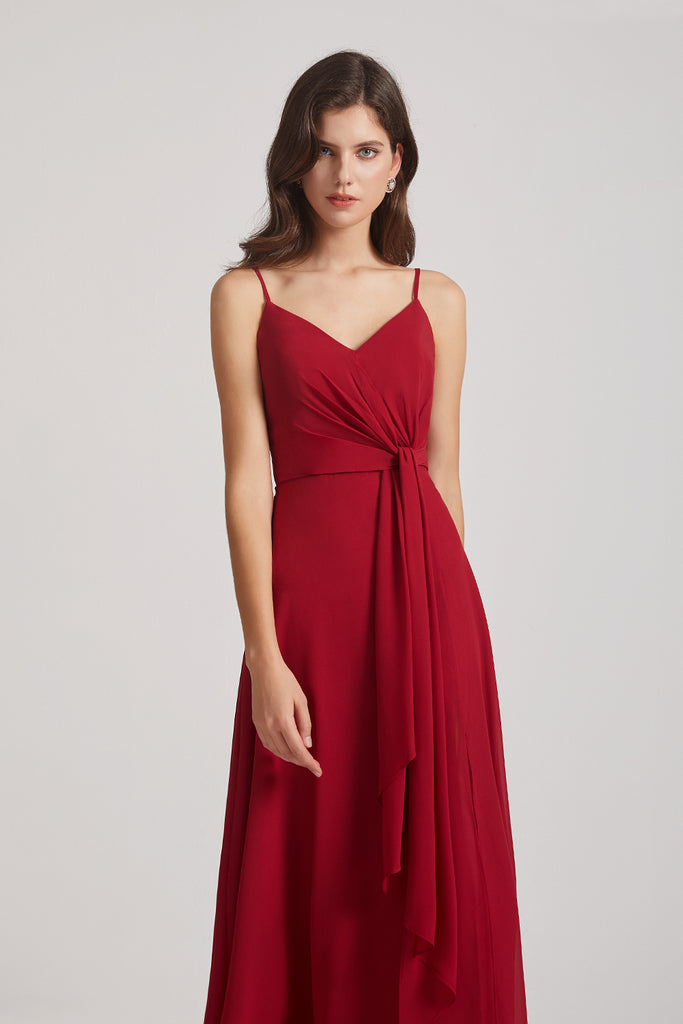 spaghetti strapes A-line bridesmaid gowns