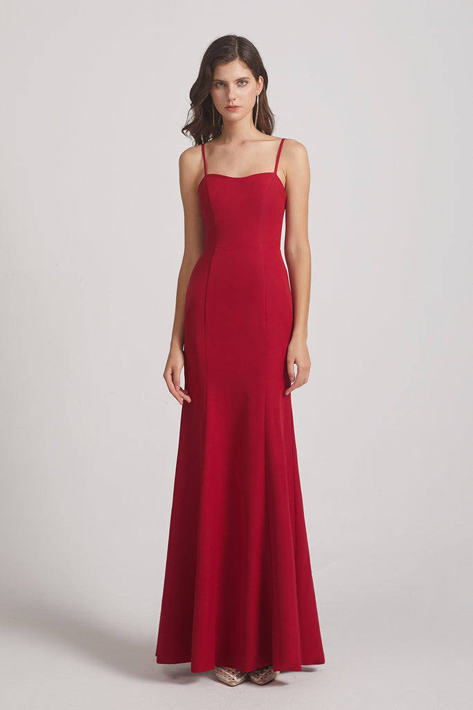 floor length red bridesmaid gown