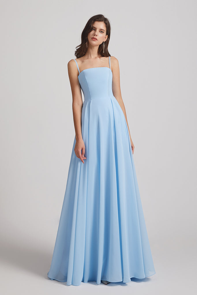 spaghetti straps chiffon bridesmaid gowns