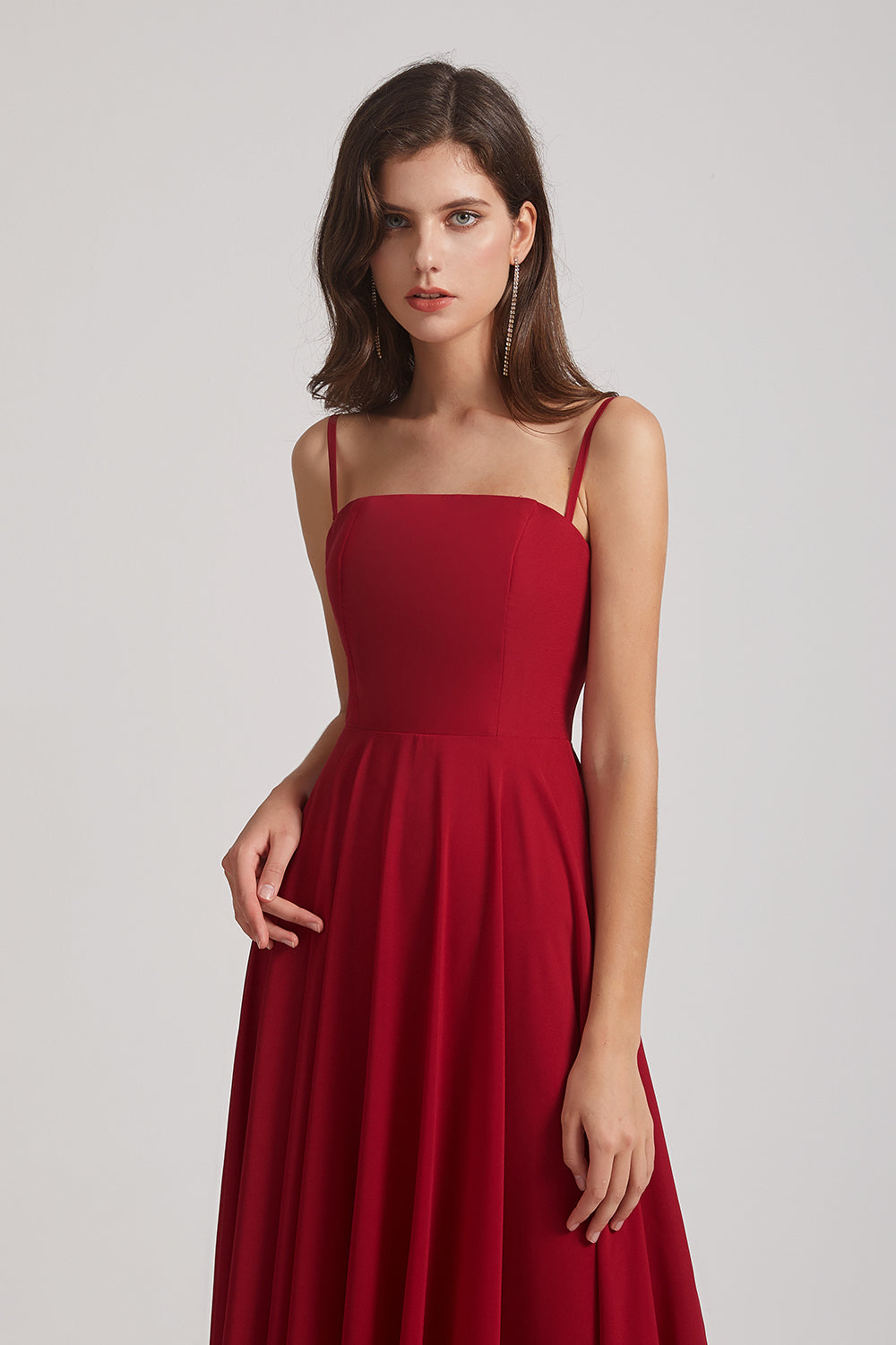 spaghetti straps chiffon bridesmaids dress